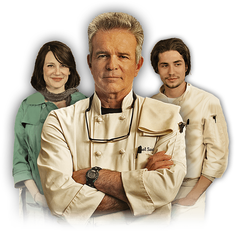 image of Tony Denison as Chef Sal Sartini, John Patrick Amedori and Lisa Rotondi